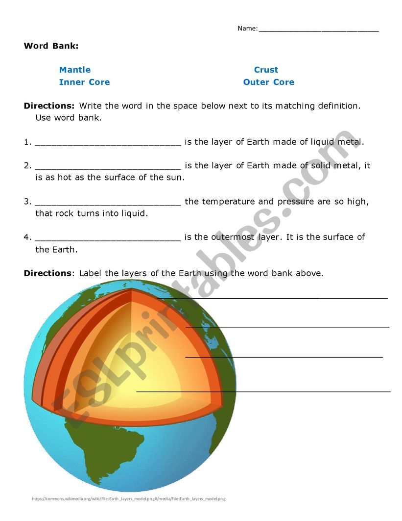 layers of the Earth worksheet   ESL worksheet by isamayra86