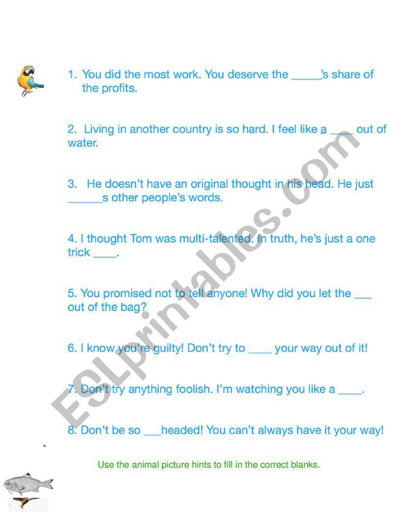 Animal Idioms Worksheet 1 worksheet