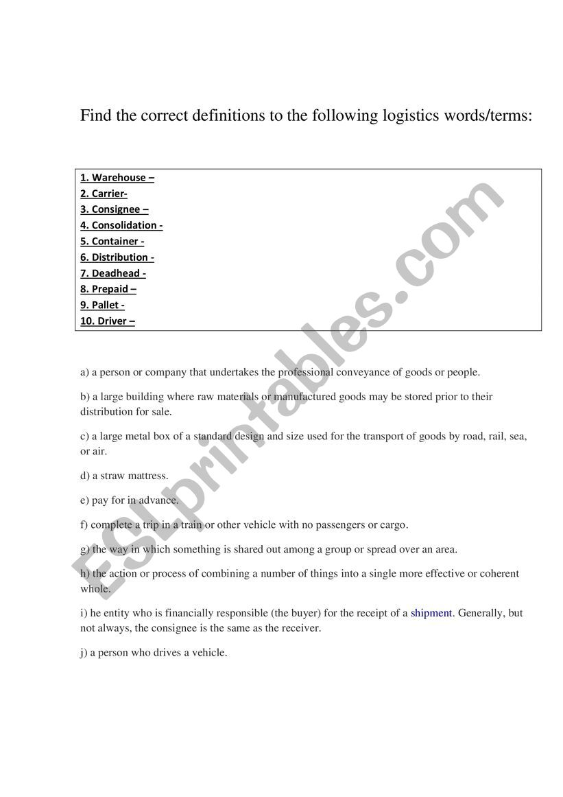 Logistic Definitions Matching