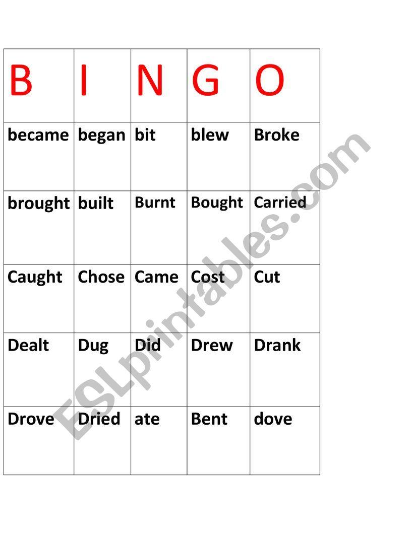 bingo  worksheet