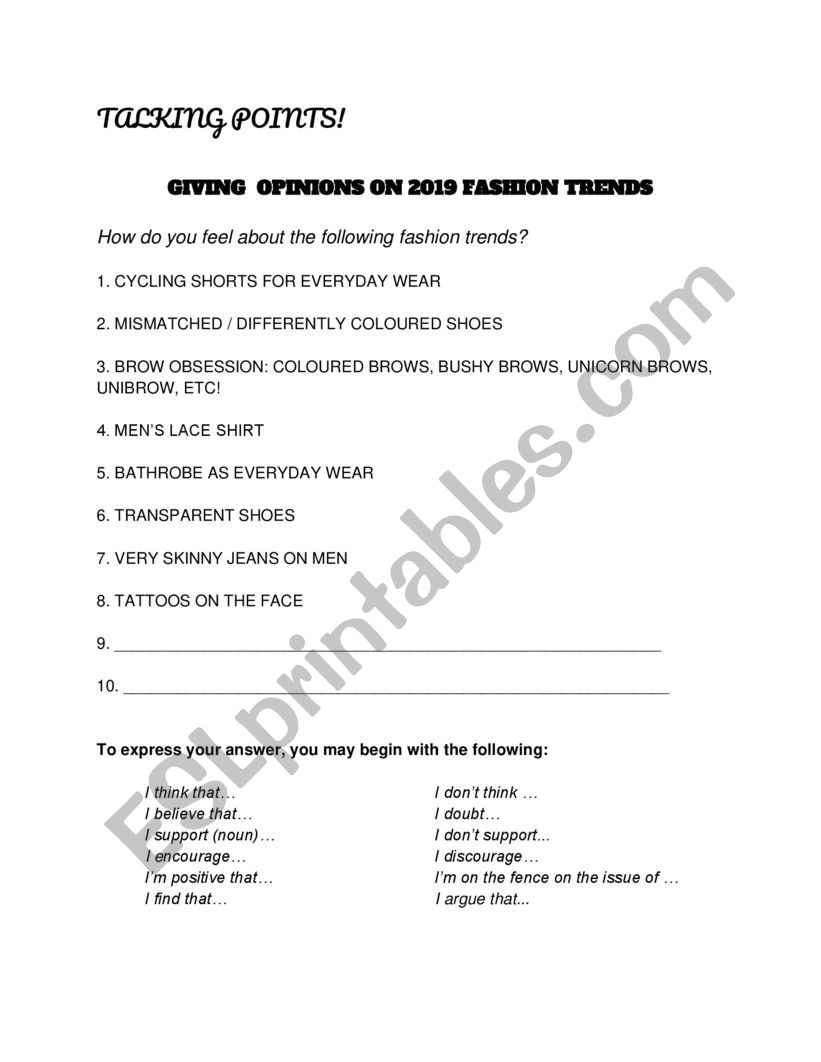 Talking about Fashion Trends  worksheet