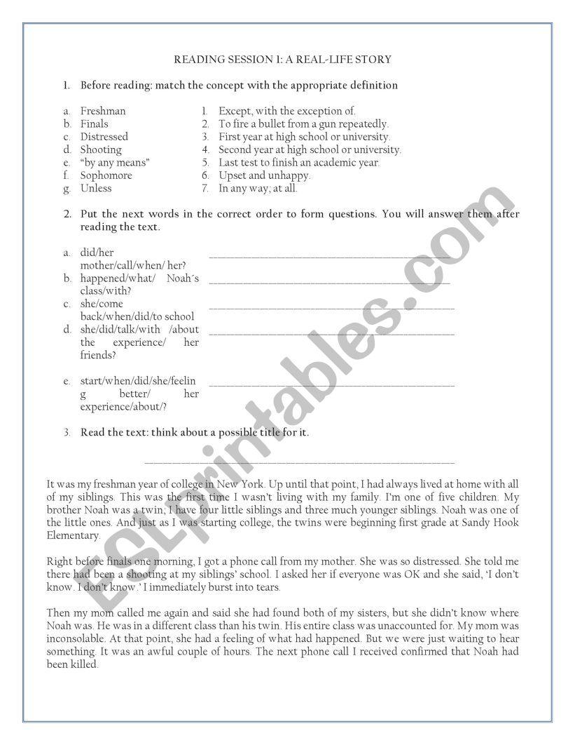 - Reading Comprehension - ESL Worksheet By Marielameister
