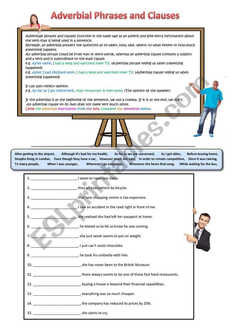 Adverbials worksheet