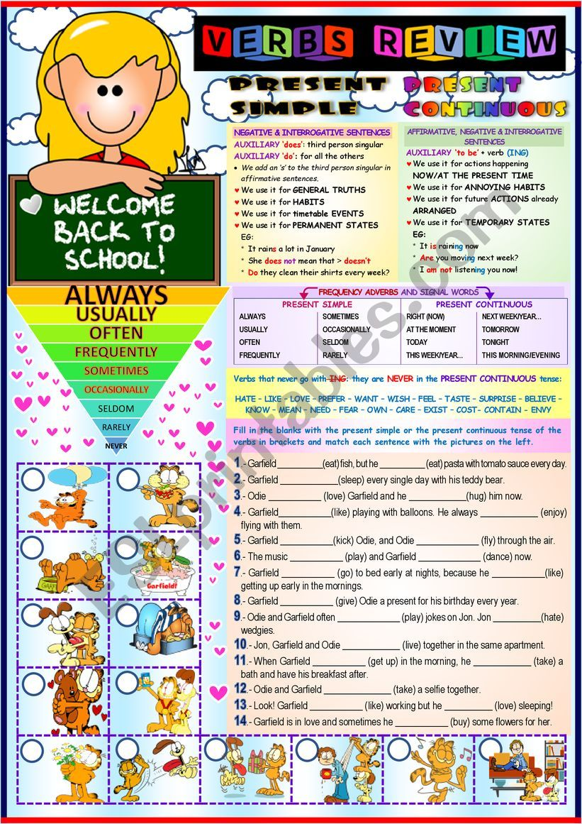 ´WELCOME BACK TO SCHOOL´ (p. simple & continuous/ frequency adverbs)
