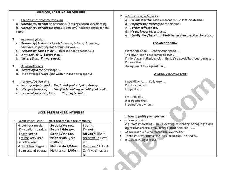 Opinions worksheet