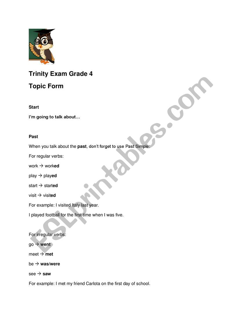 TRINITY EXAM GRADE 4  worksheet