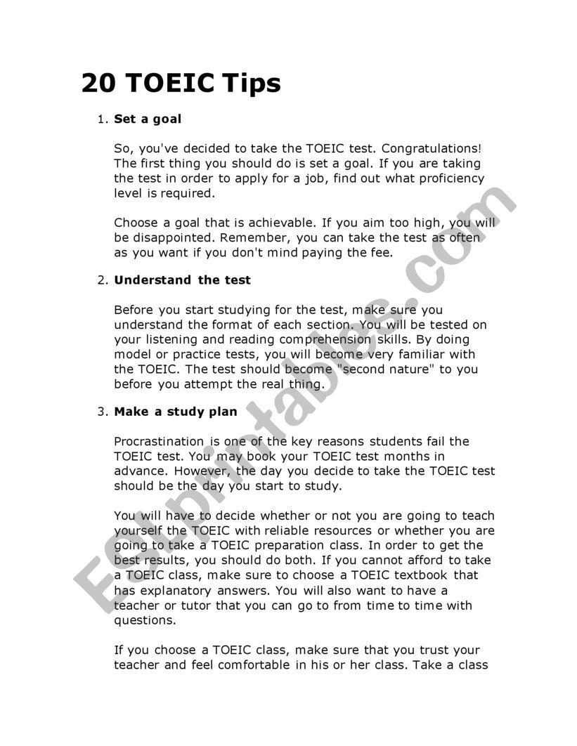 TOEIC TIPS  worksheet