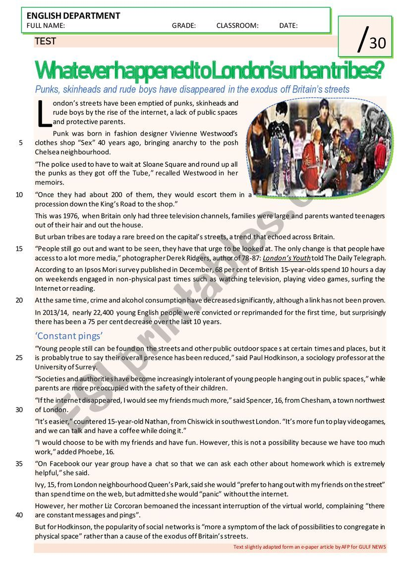 ´URBAN TRIBES´ READING AND COMPREHENSION TEST + WRITING (B&W VERSION INCLUDED)