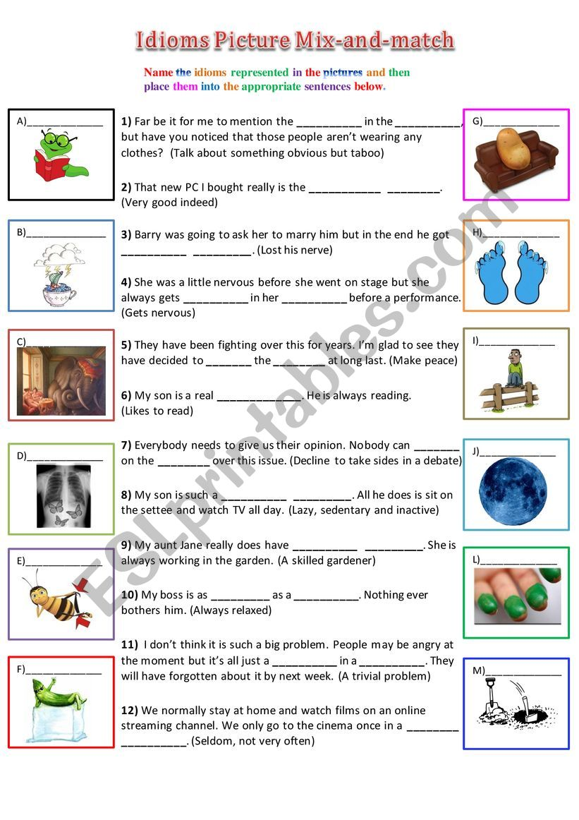 Idioms Picture Mix-and-Match worksheet
