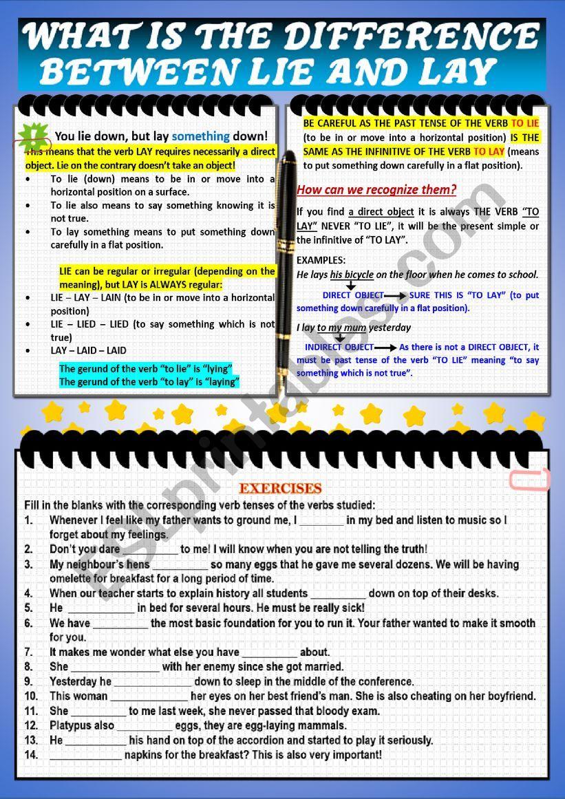 ´LIE OR LAY´ WORKSHEET worksheet