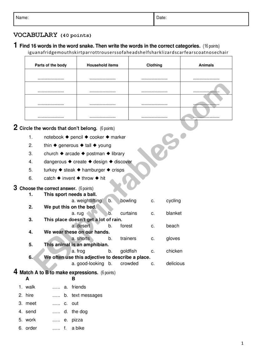 Elementary test with key worksheet