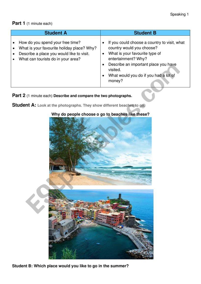 Speaking Holidays FCE format worksheet