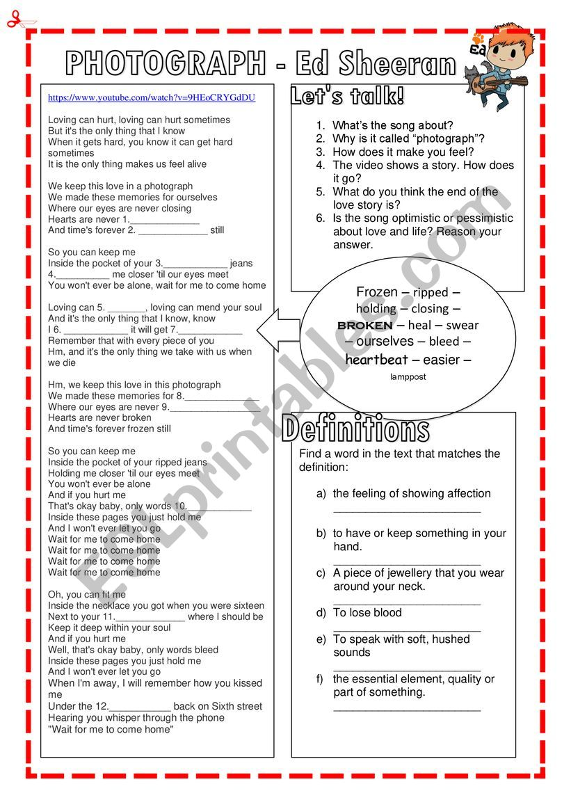 photograph ed sheeran esl worksheet by nuria08 photograph ed sheeran esl worksheet