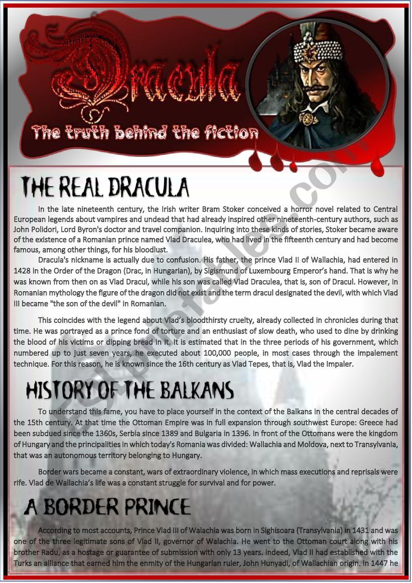 ´THE REAL DRACULA´ READING & COMPREHENSION