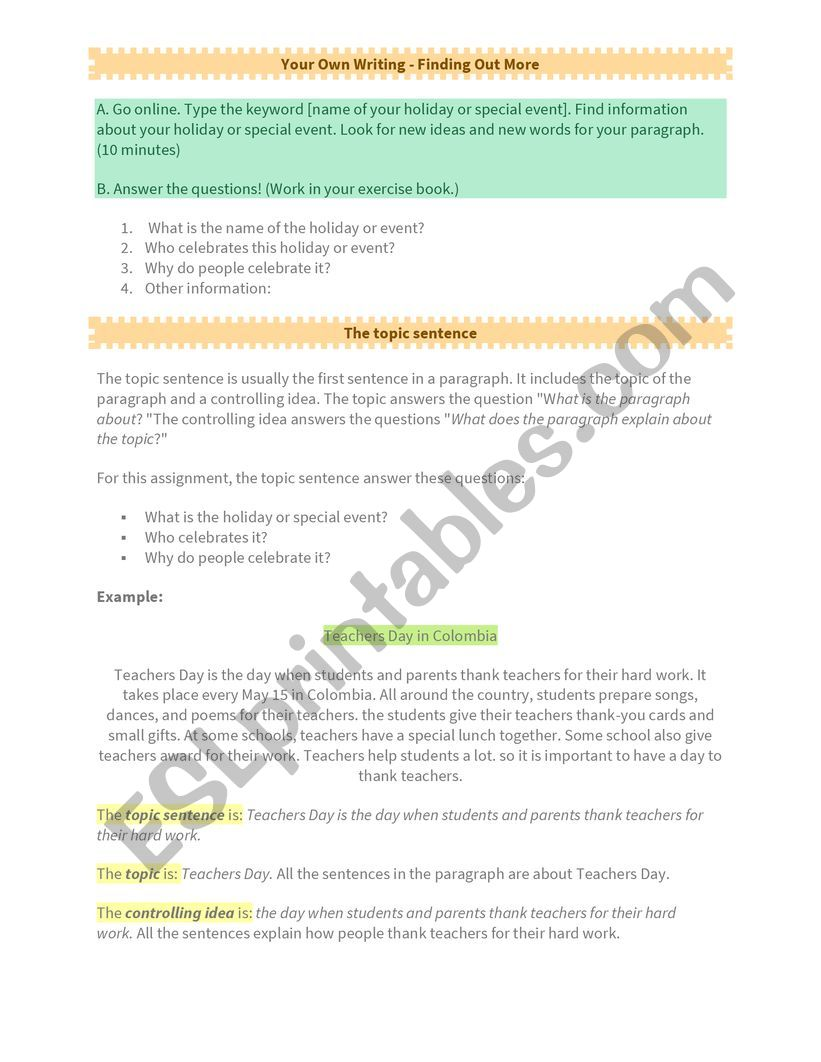 Writing a Paragraph 2 - Writing the first draft + The topic sentence