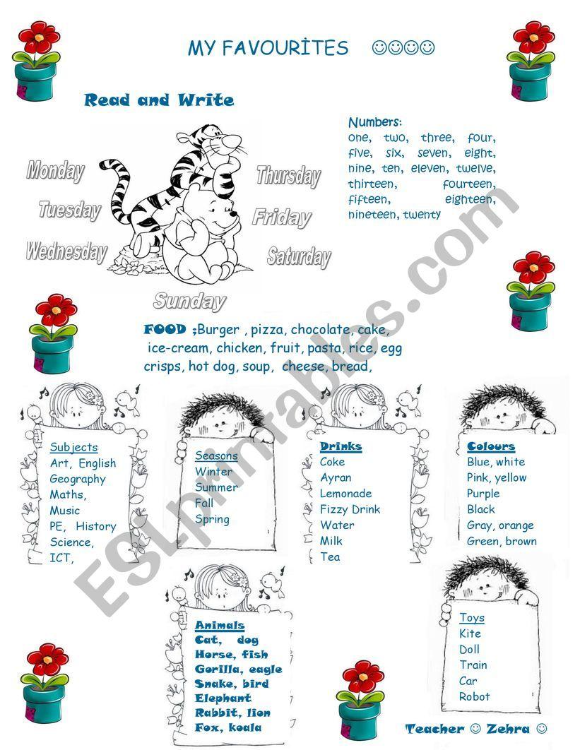 my favourites worksheet