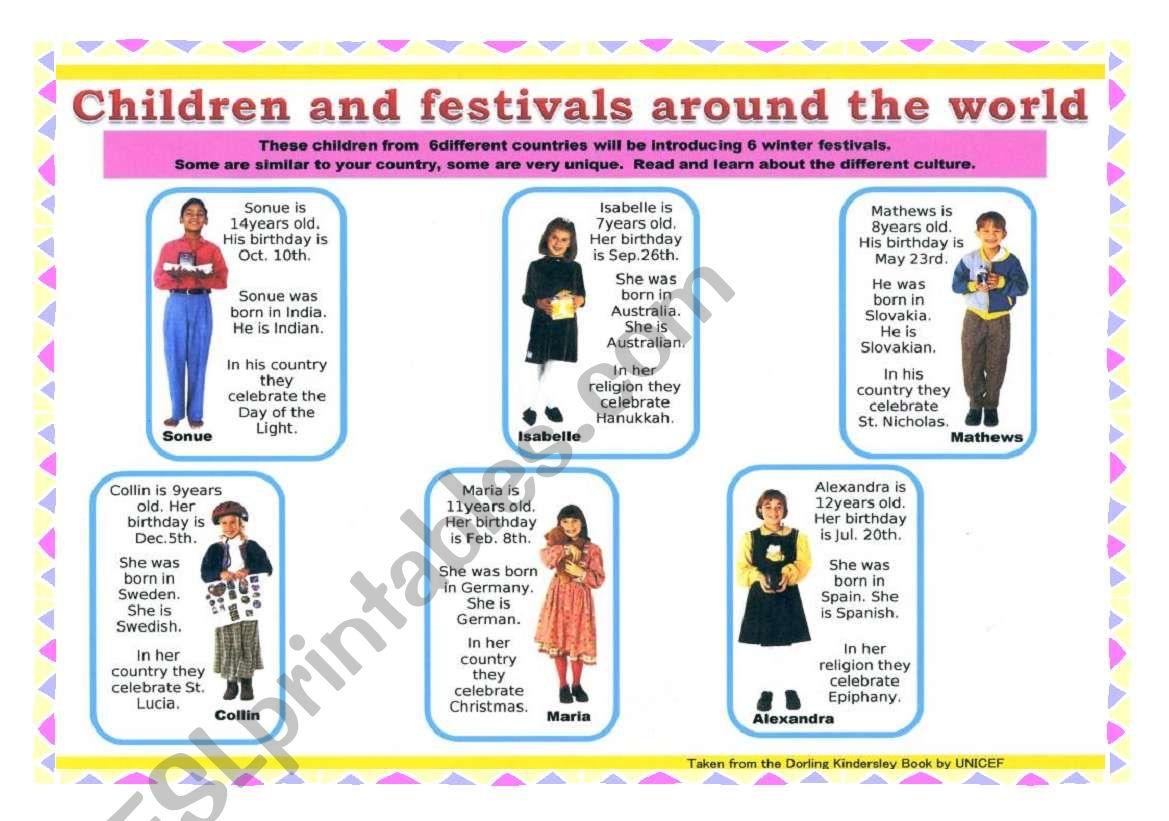 Children around the world 3 worksheet