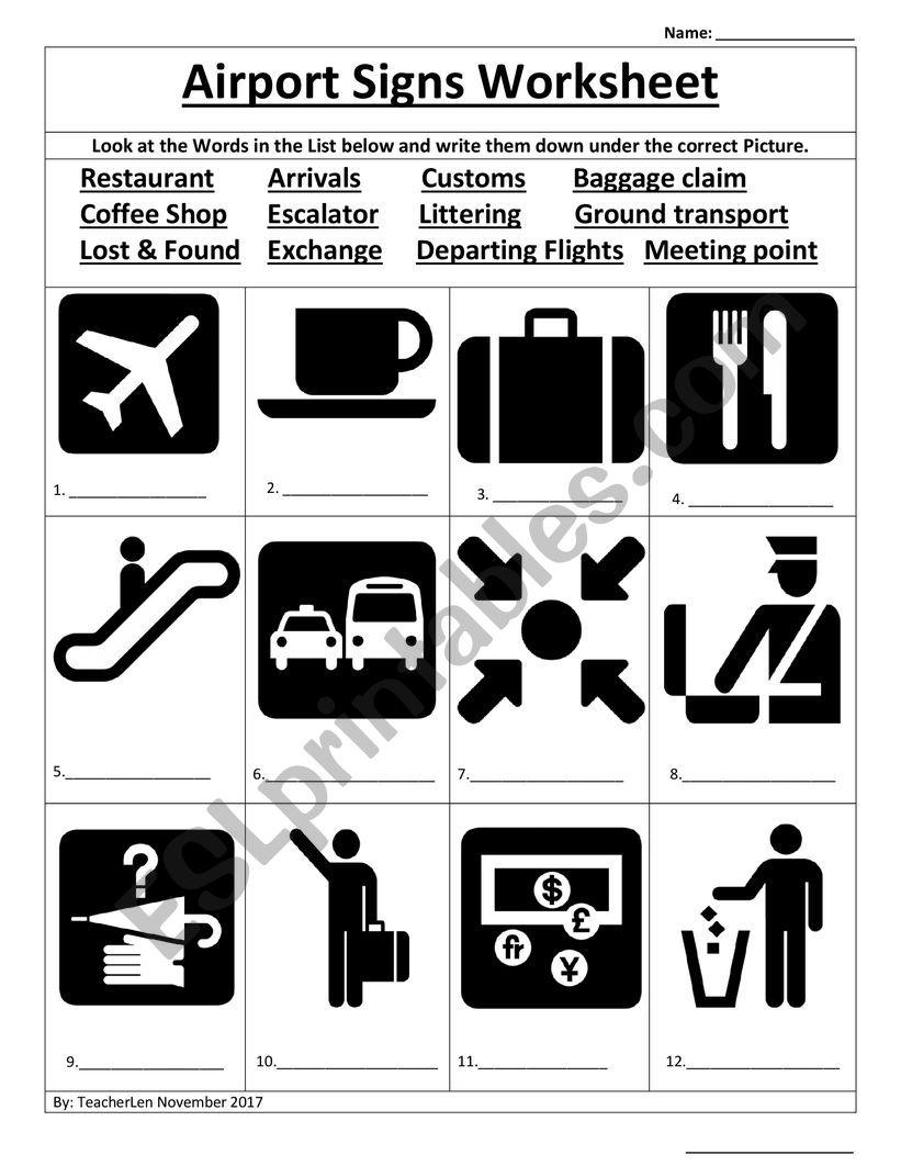 Airport Worksheet worksheet