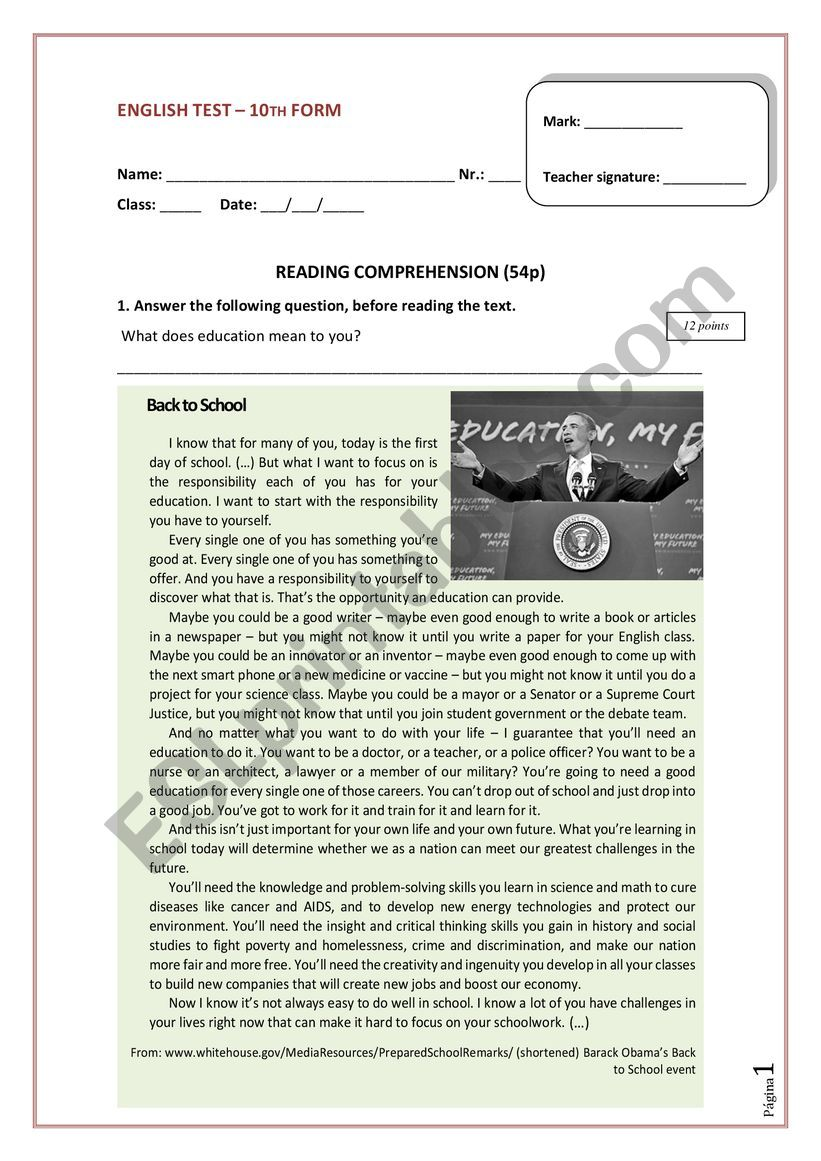10th form English test worksheet