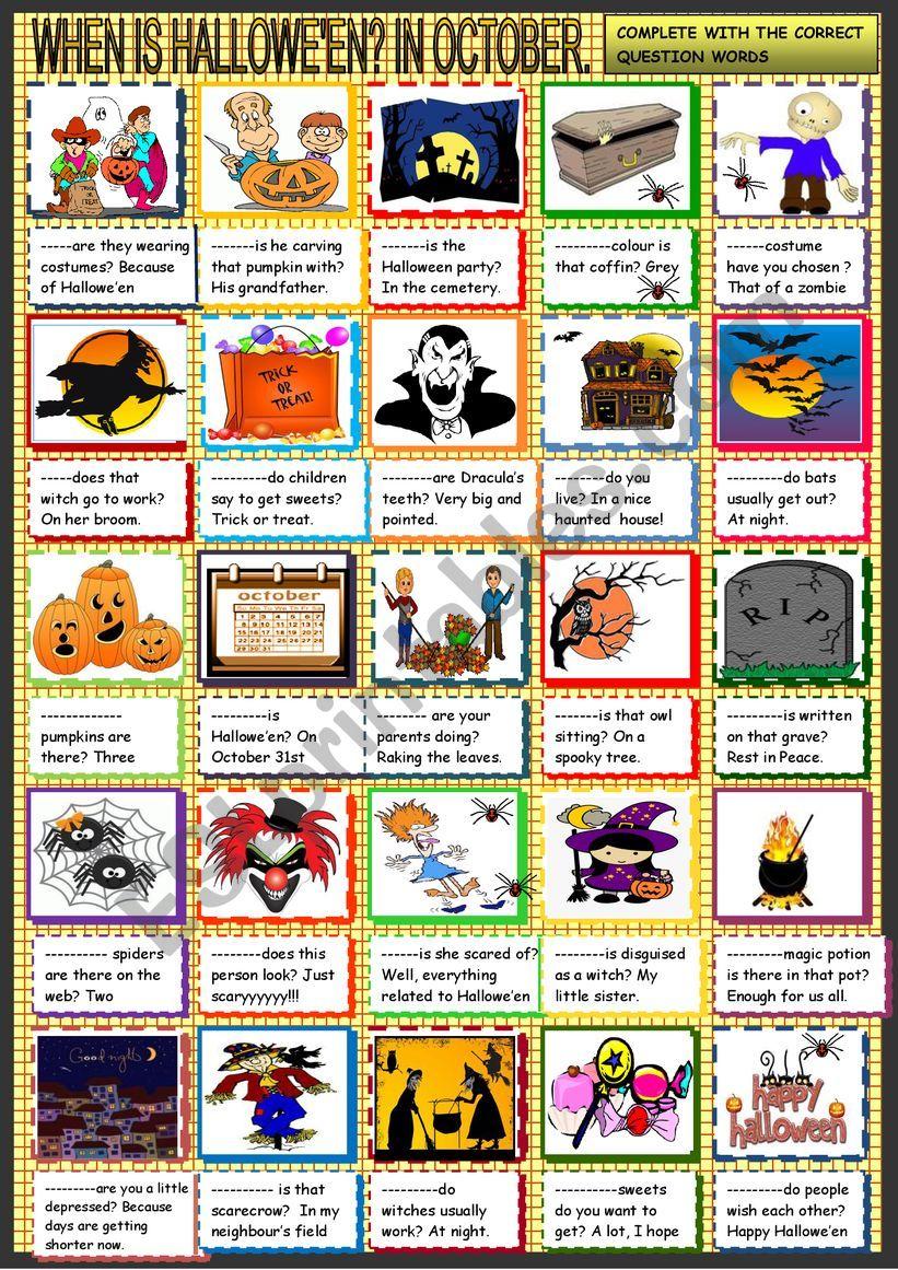 Halloween; question words worksheet