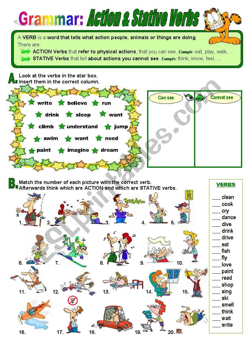 Action and Stative Verbs worksheet
