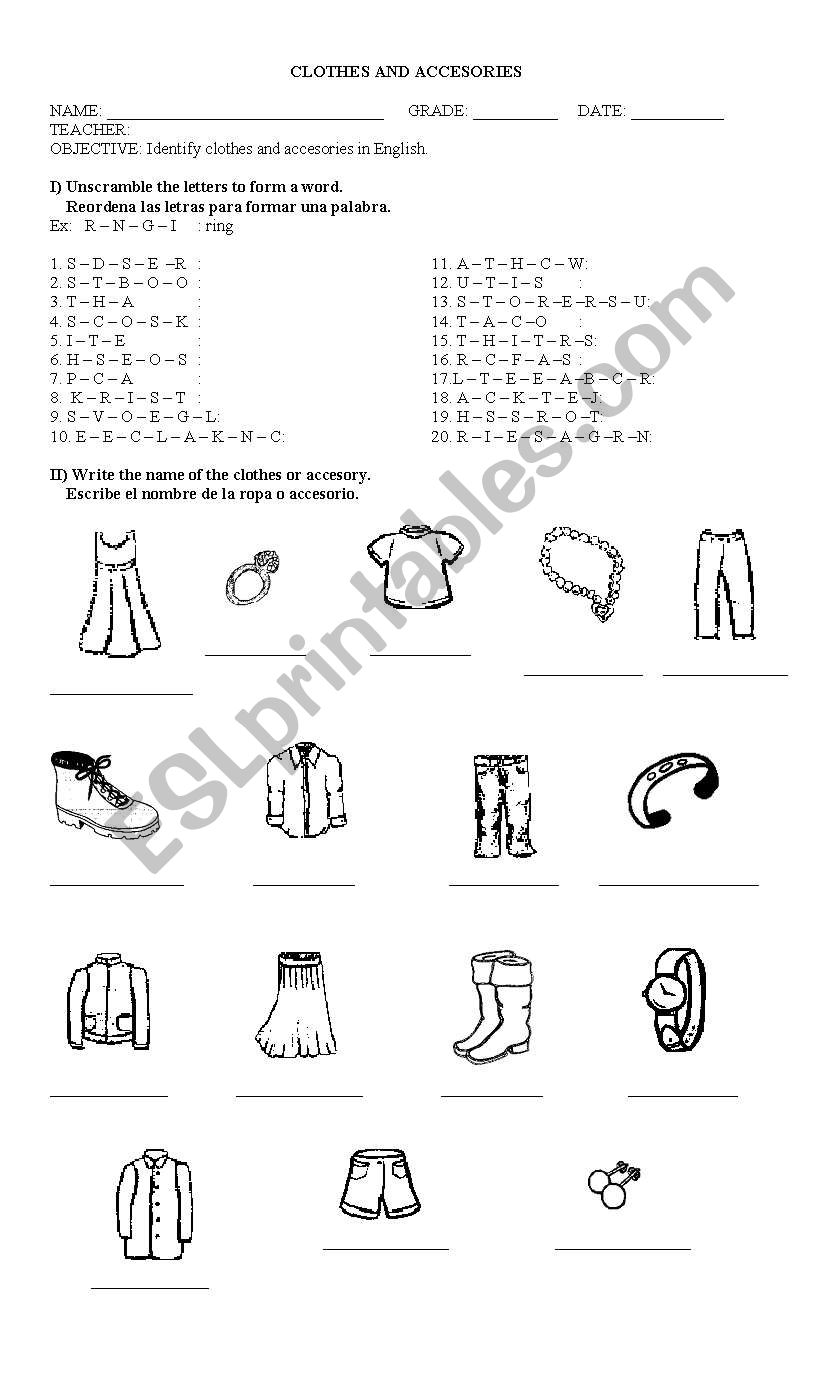 Clothes And Accesories Esl Worksheet By Linkka
