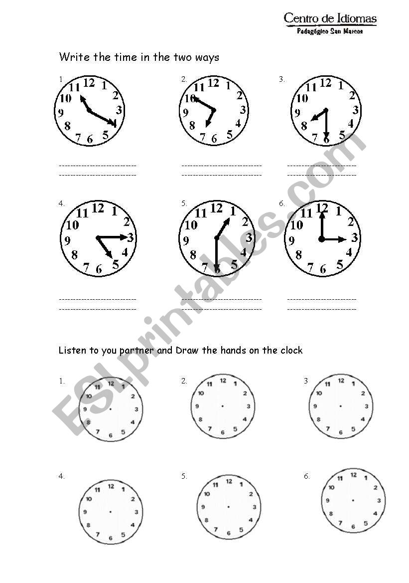Telling the time esl worksheet by mmezao telling the time worksheet ibookread PDF