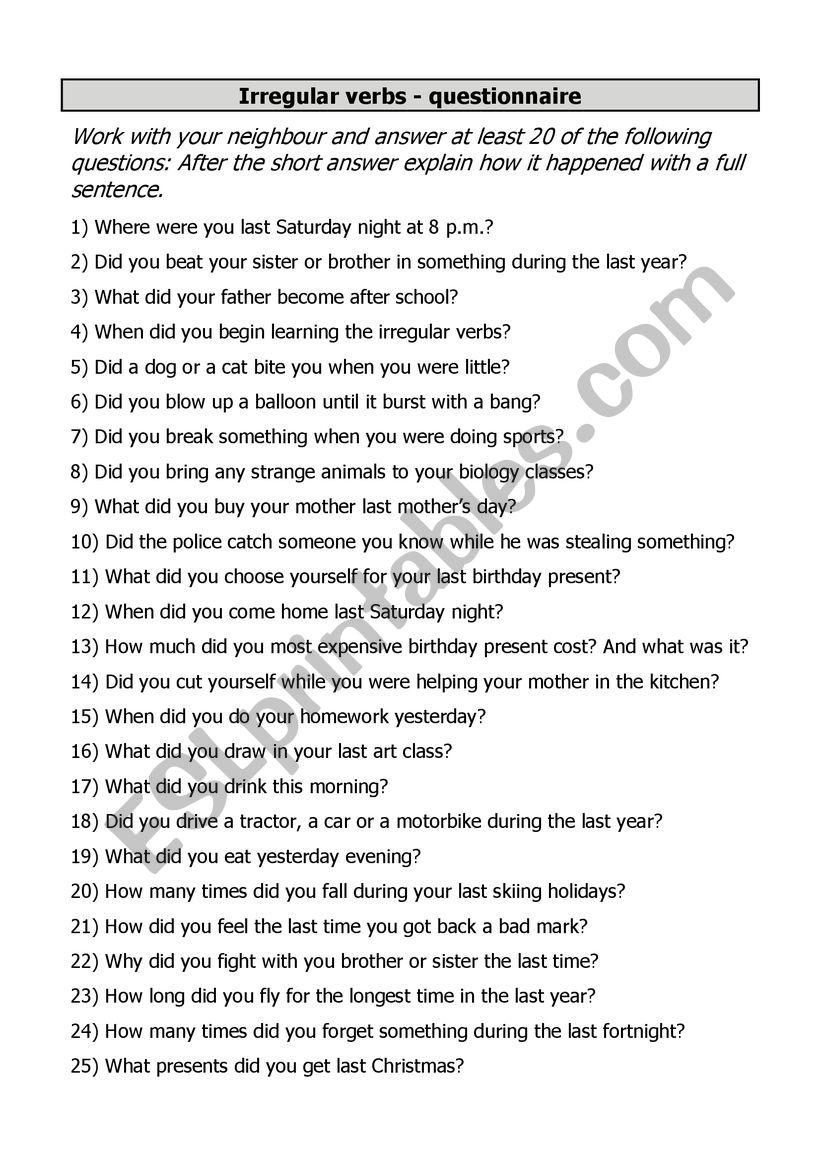 questionnaire past simple irregular verbs