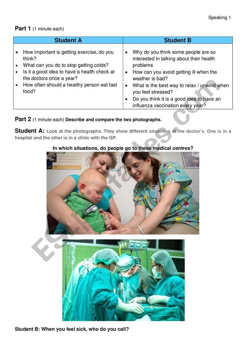 Speaking HEALTH FCE format worksheet