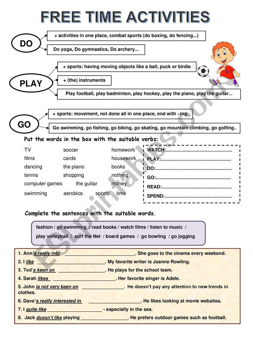 free time activity worksheet