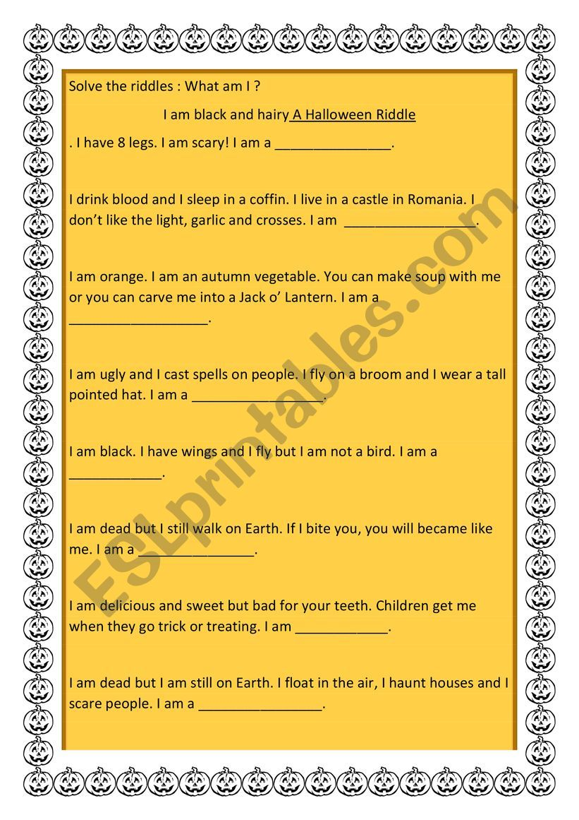 A Halloween Riddle worksheet