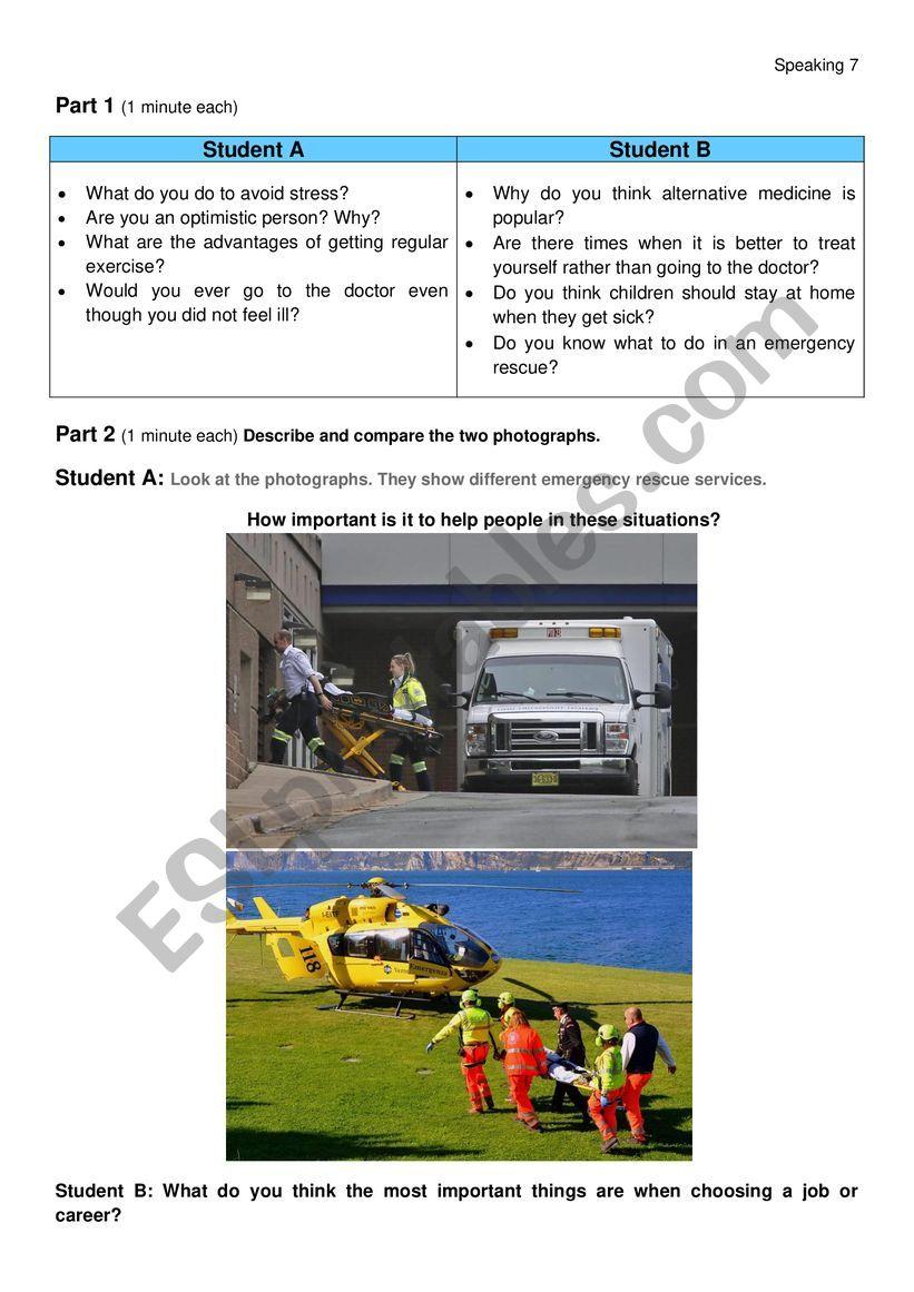 Speaking FCE format Health worksheet