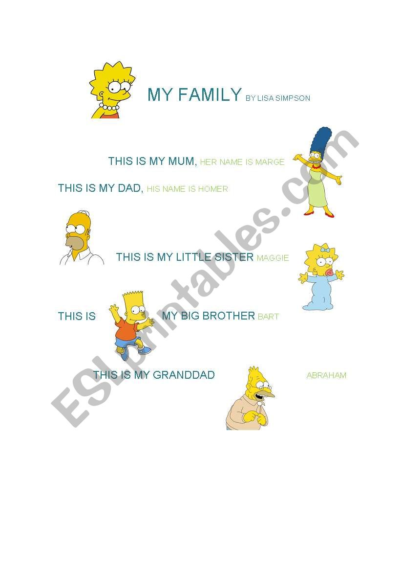 MY FAMILY BY LISA SIMPSON worksheet