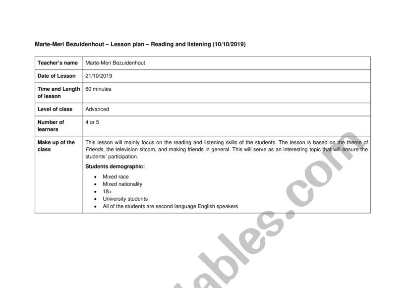 Lesson Plan And Exercise For Listening And Reading - ESL Worksheet By  Marte-Meri