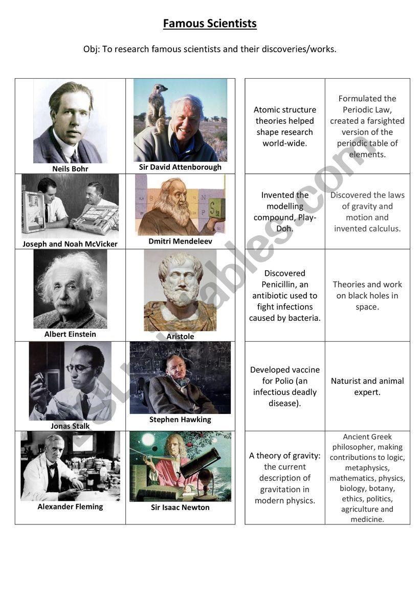 Famous Scientists worksheet