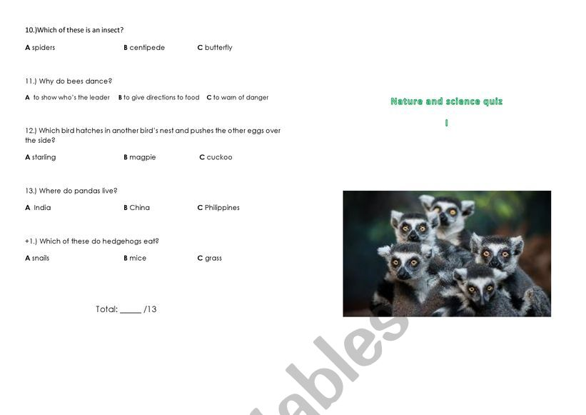 nature and science quiz 1 worksheet