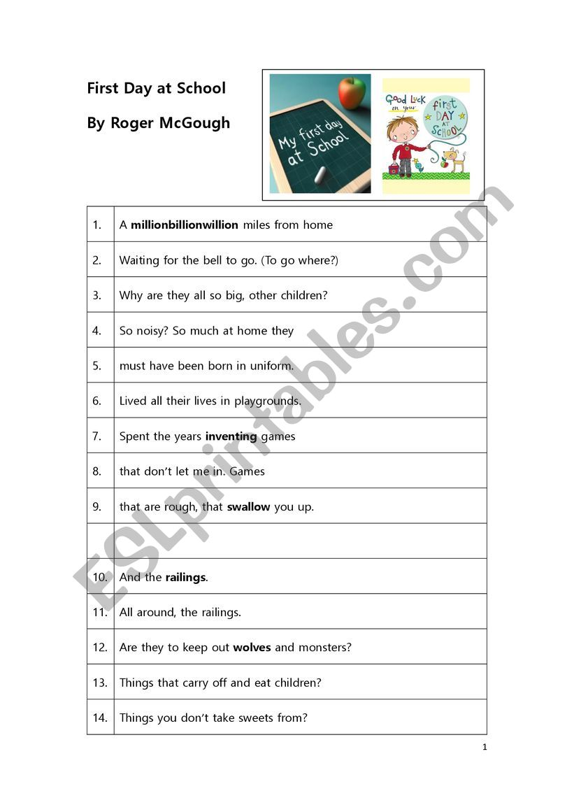 Poem Worksheet: First Day At School by Roger McGough