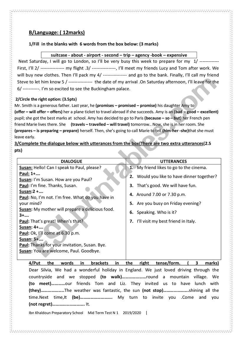 mid term test n1 worksheet