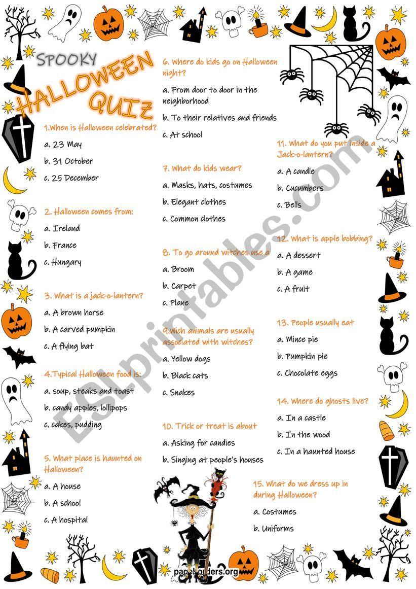 Halloween Quiz worksheet