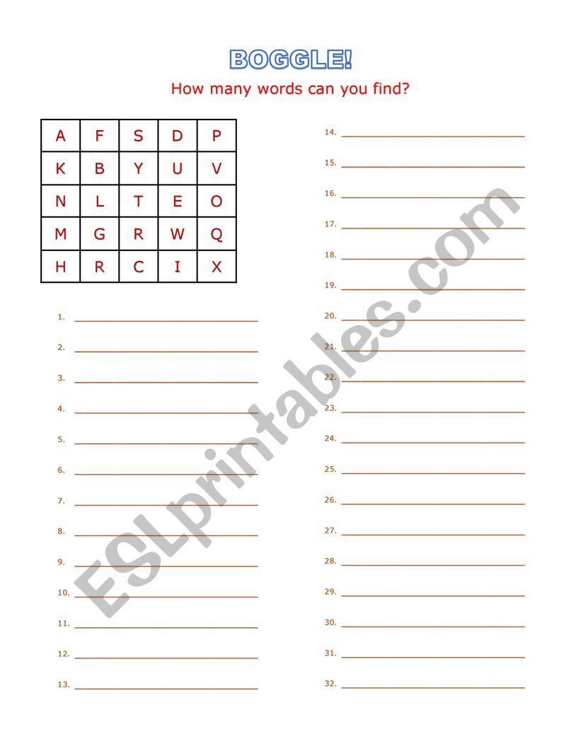 BOGGLE! Spelling exercise worksheet. Fun - ESL worksheet by ...