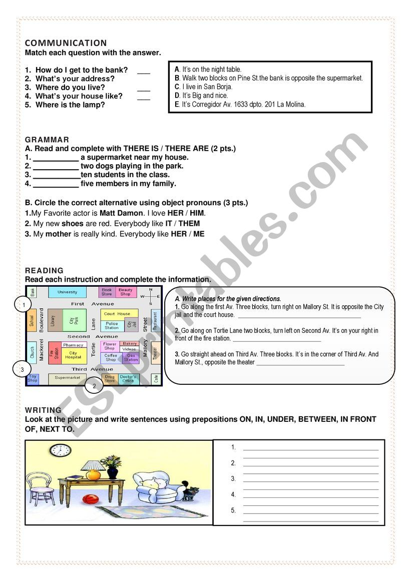 TEST ABOUT PREPOSITIONS,  worksheet