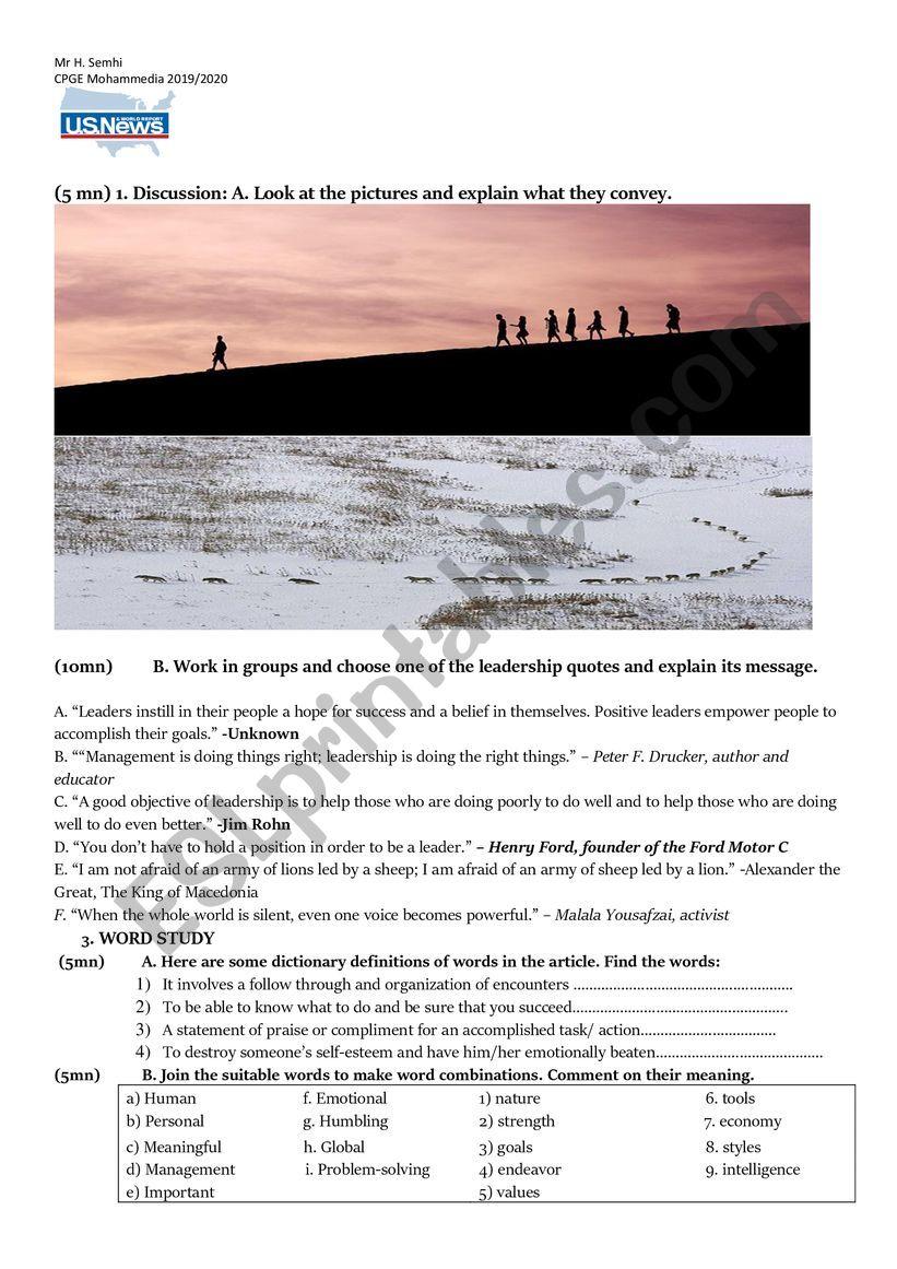 leadership worksheet