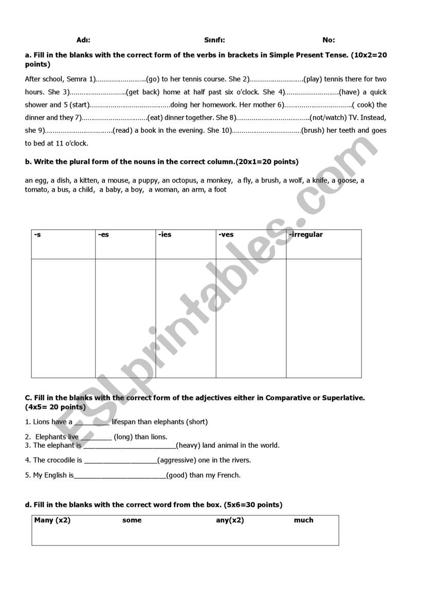 revision test for 9th grade- 2
