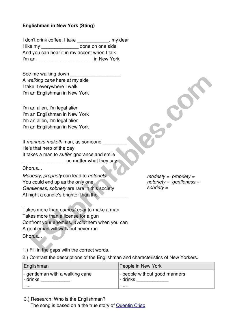 Englishman worksheet