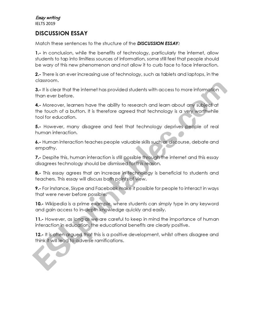 Discussion Essay Exercise / IELTS writing