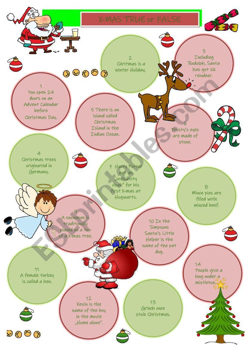 Christmas True or False worksheet