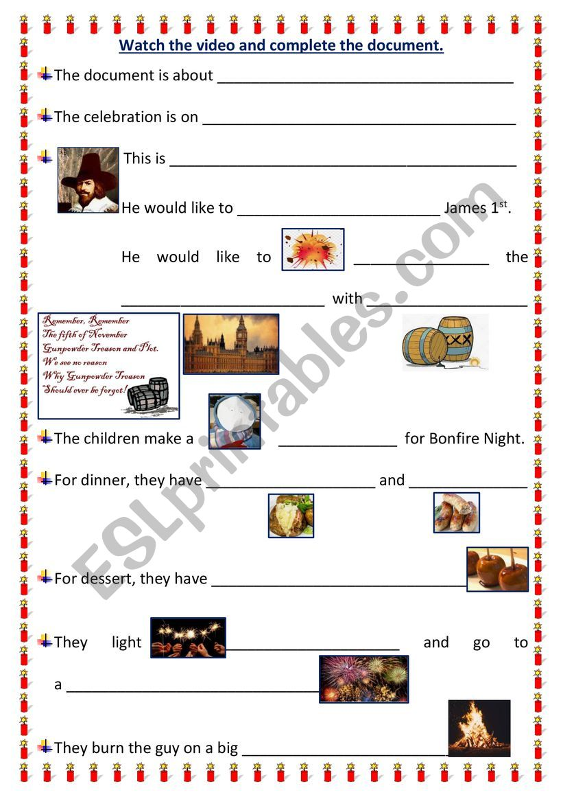 BONFIRE NIGHT worksheet