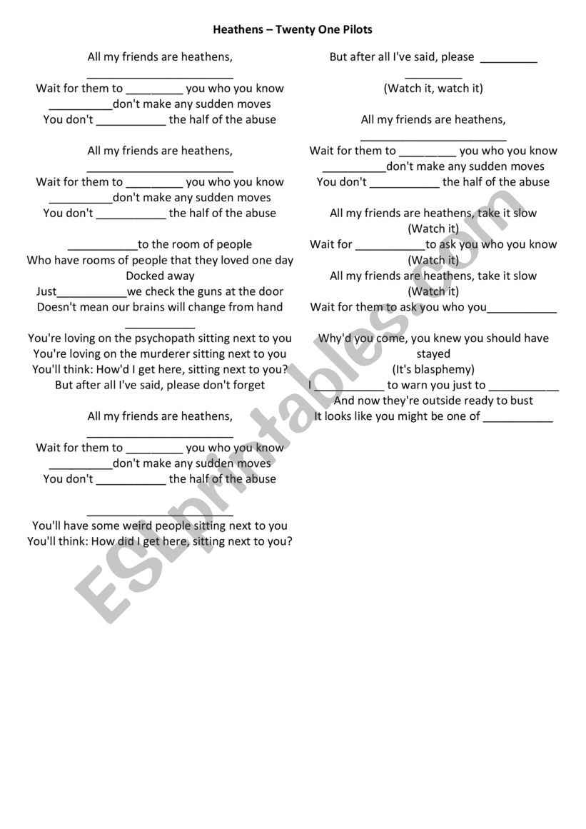 HEATHES SONG worksheet