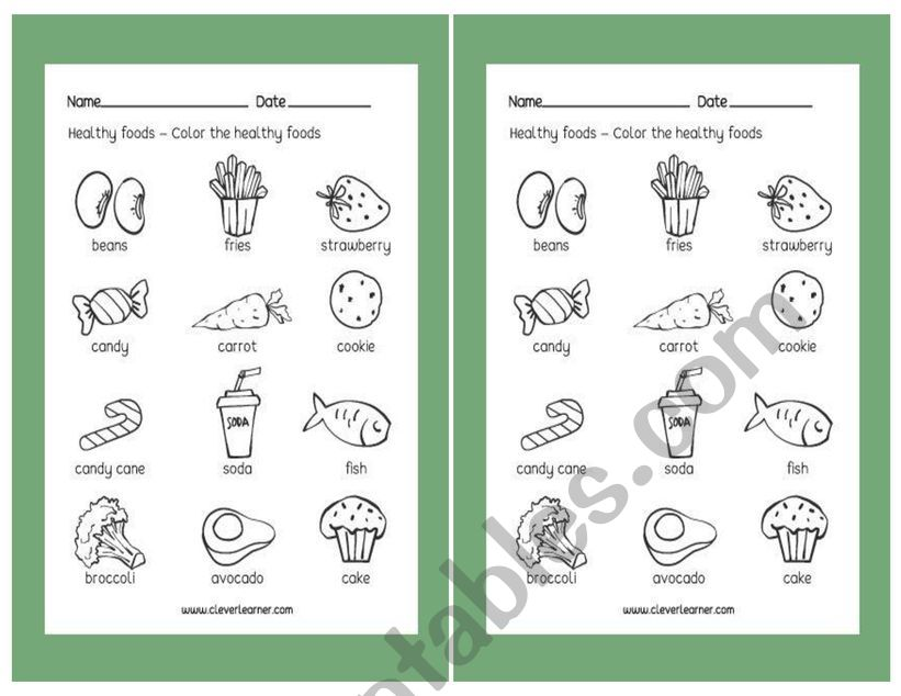 healthy and unhealthy worksheet