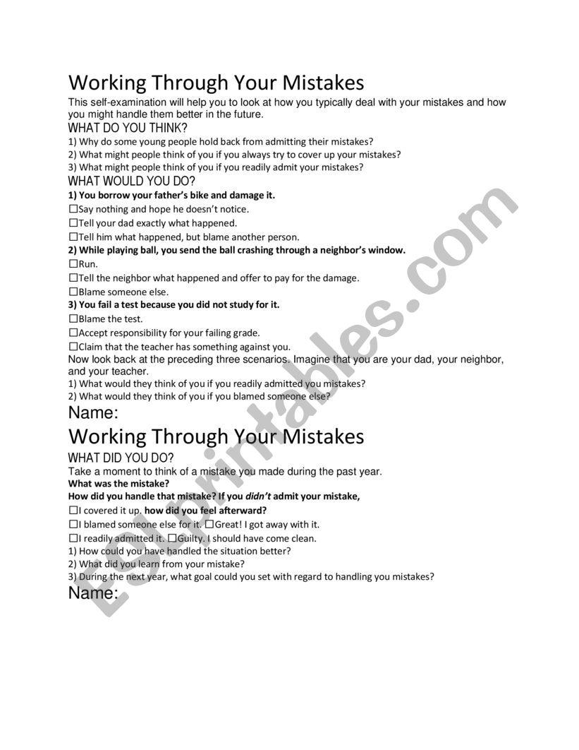 Working Through Mistakes worksheet
